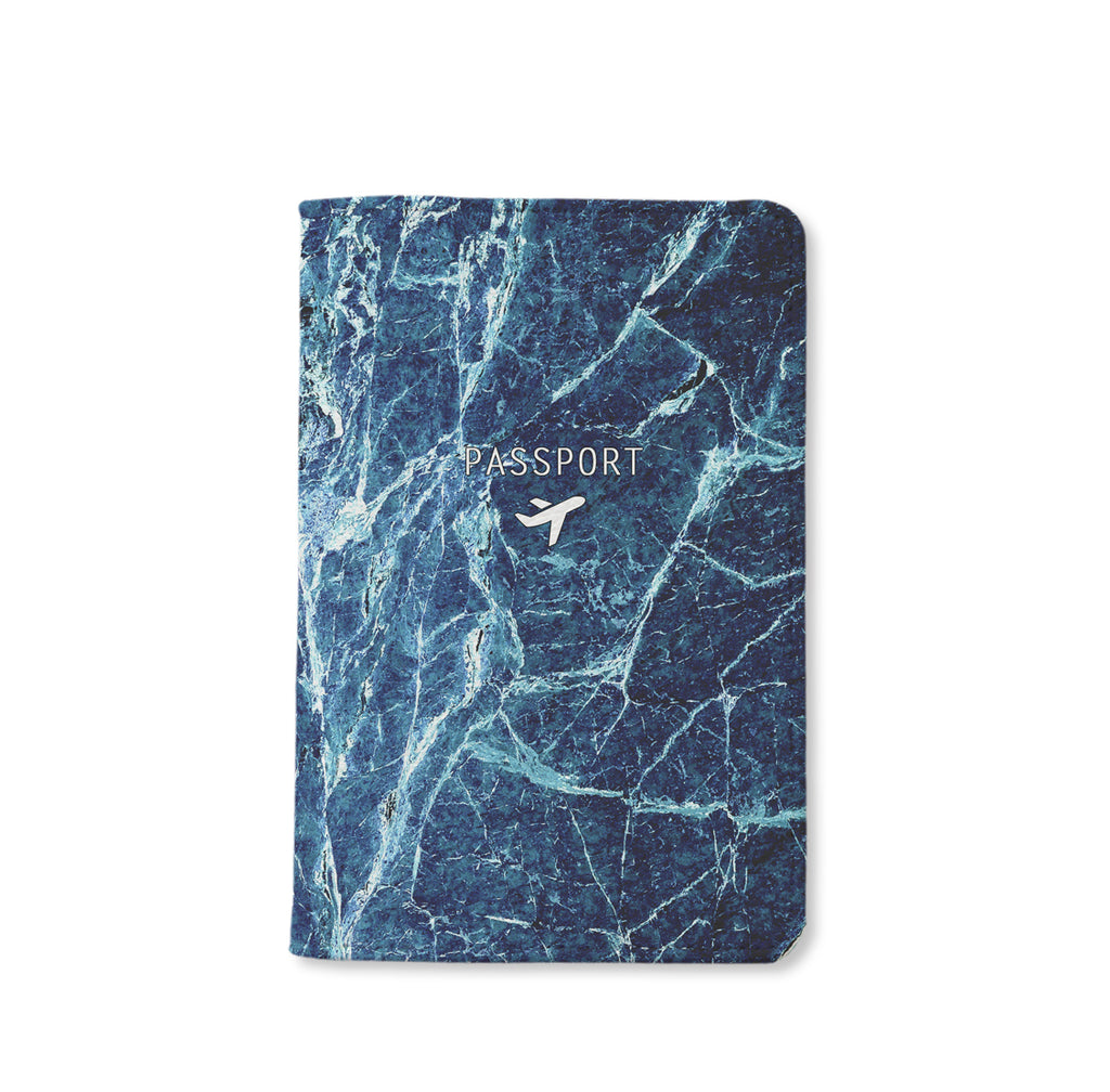 Dark Blue Marble Passport Holder