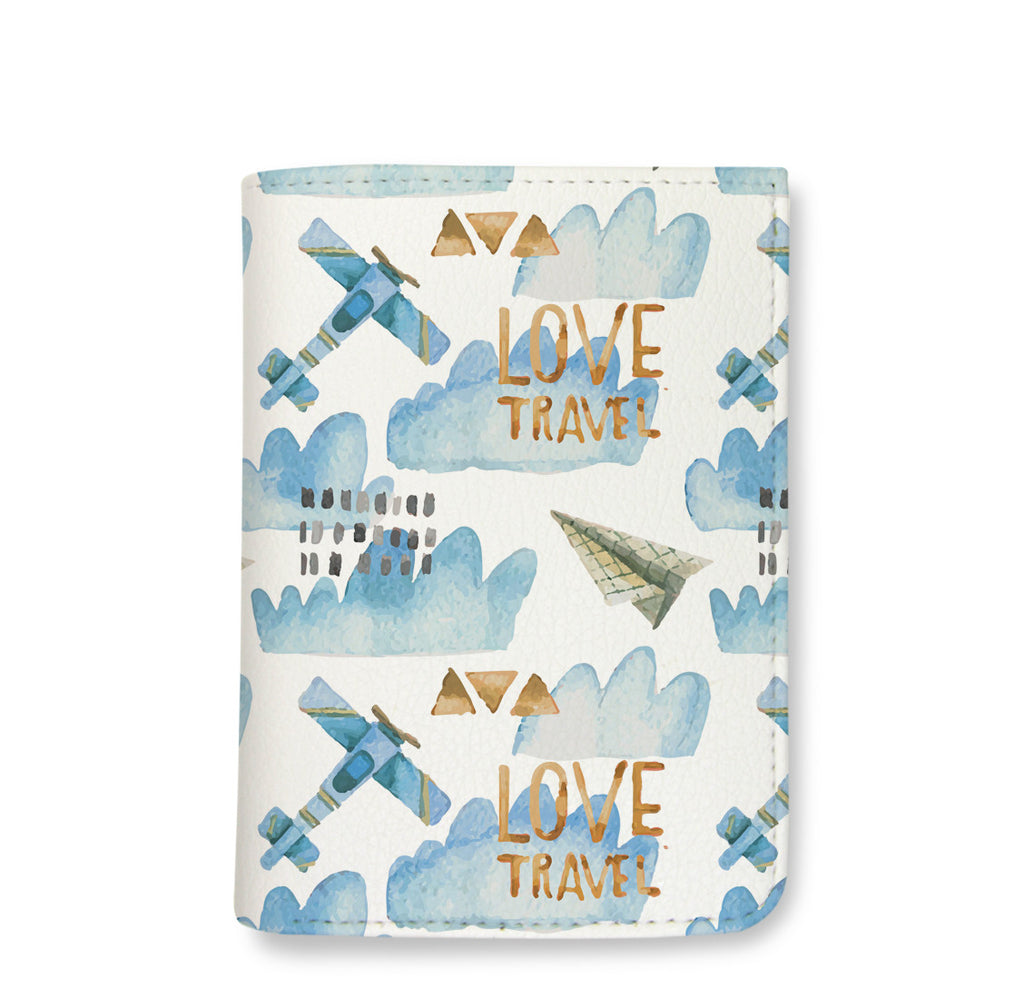 Blue Planes and Clouds Pattern Wallet