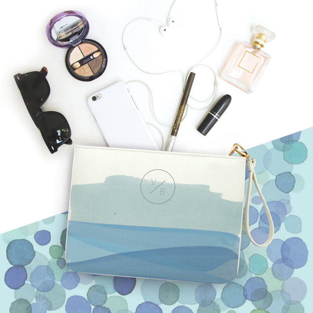 Blue Brush Monogram Clutch
