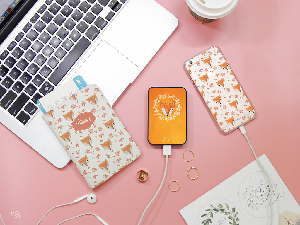 Cute Fox Combo Passport Holder, Power Bank and Phone case