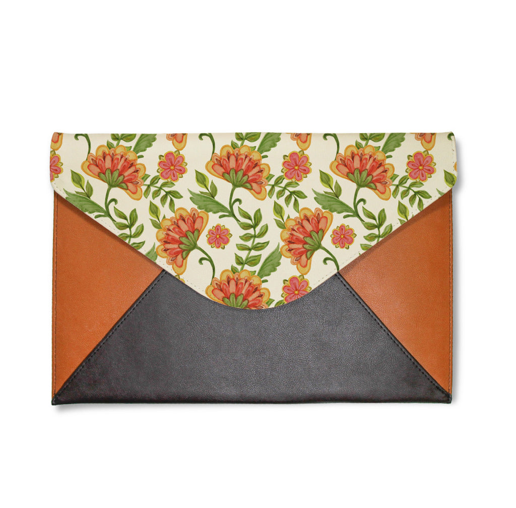 Blooming Orange Flowers Envelope Clutch