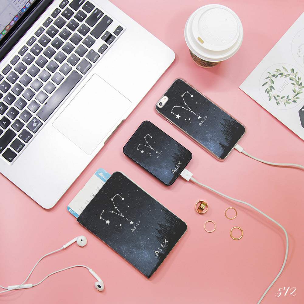 Aries Zodiac Combo Passport Holder, Power Bank and Phone case
