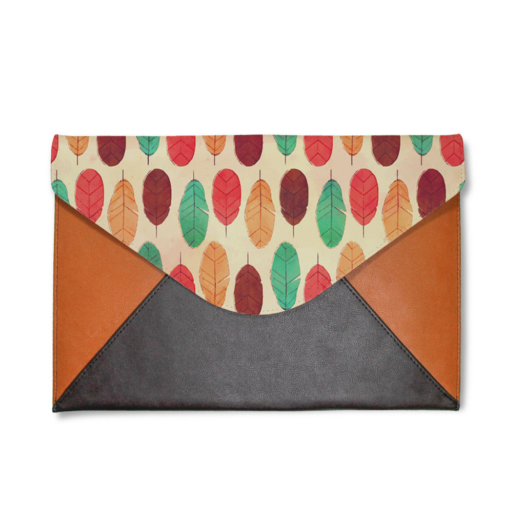 Boho Colorful Feathers Envelope Clutch