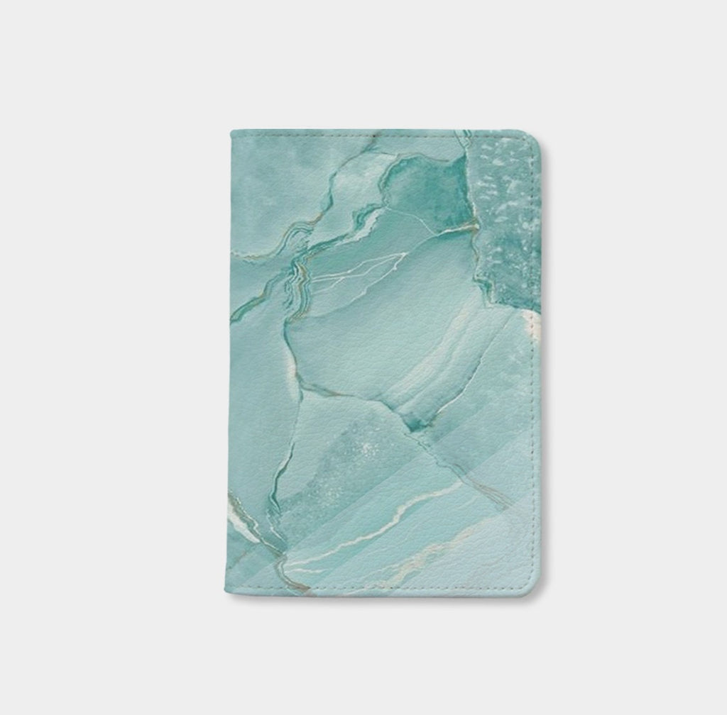 Teal Striped Marble Passport Holder