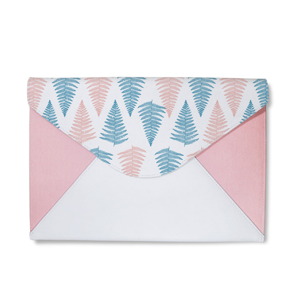 Blue and Pink Fern Leaves Envelope Clutch