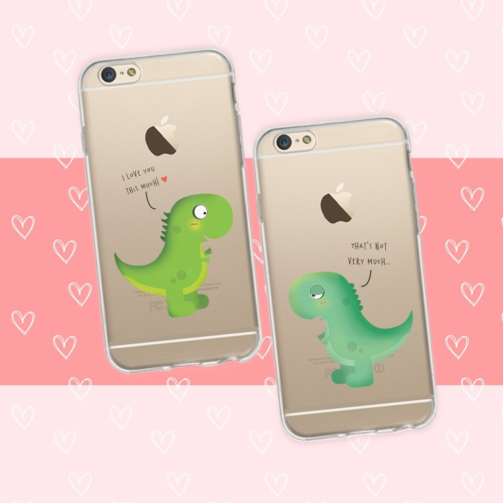 finest selection 004fb 143b3 Cute Dinosaur Couple Phone Cases