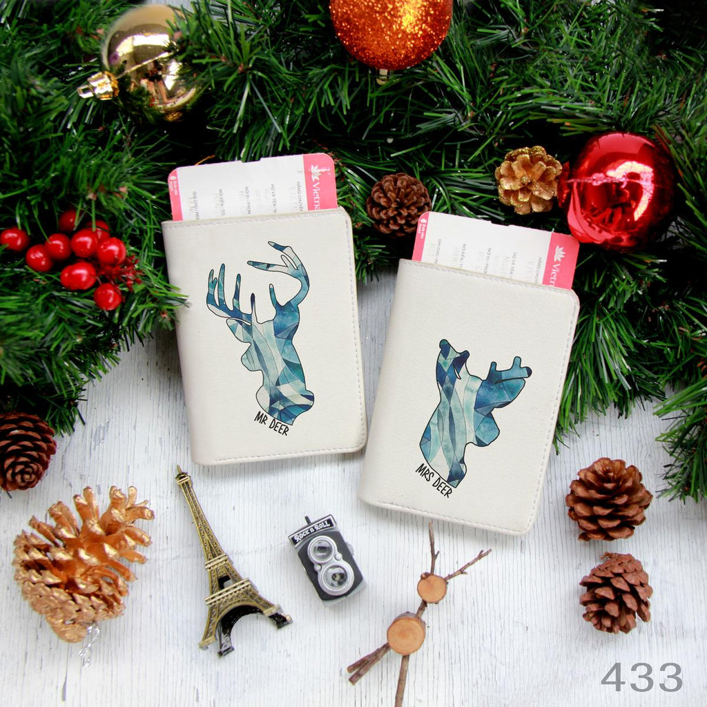 Blue Deer Couple Passport Holders