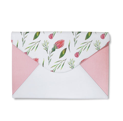 Watercolor Violet Flowers Envelope Clutch