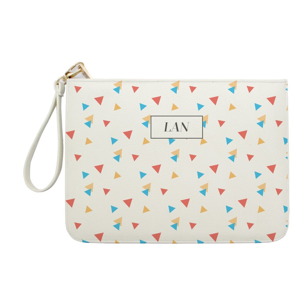 Colorful Triangles Monogram Clutch