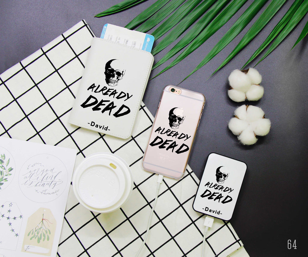 Already Dead Skull Combo Passport Holder, Power Bank and Phone case