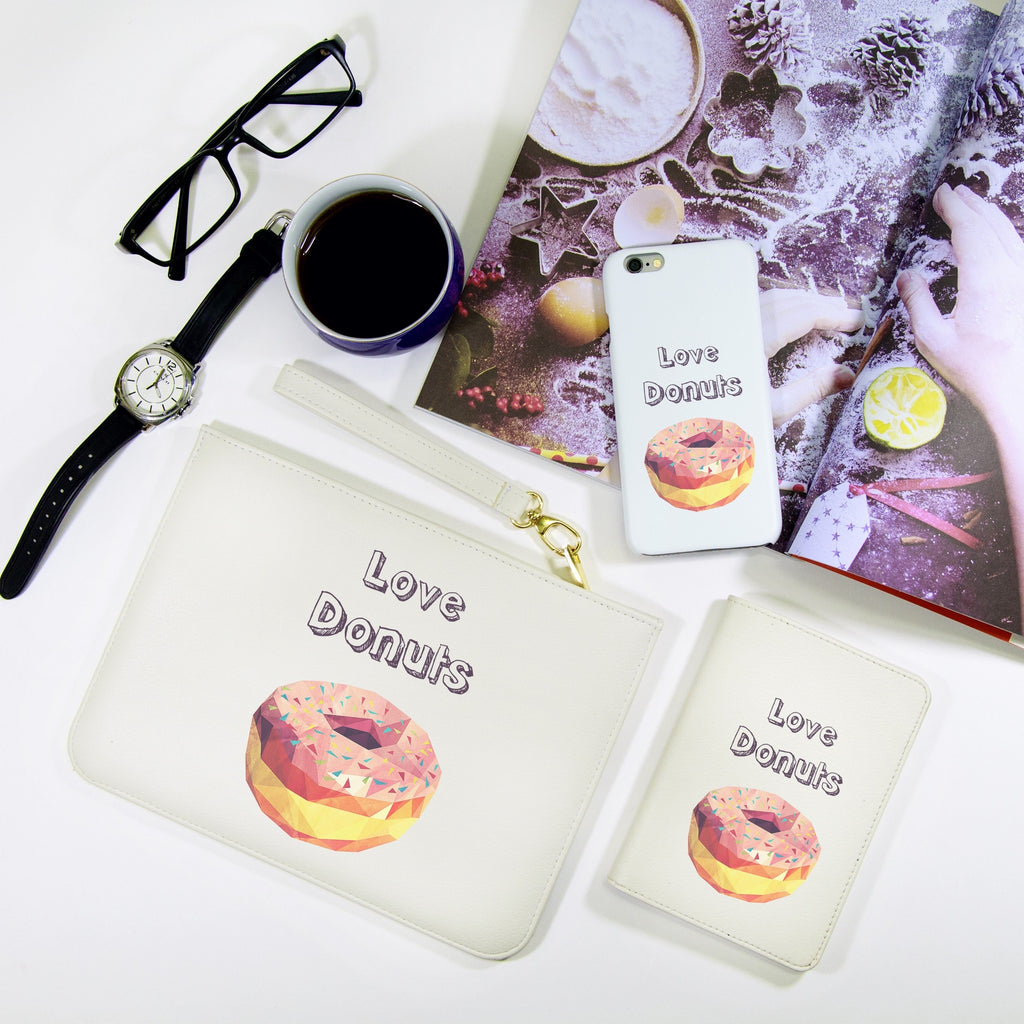 Love Donuts Combo Passport Holder, Clutch and Phone case