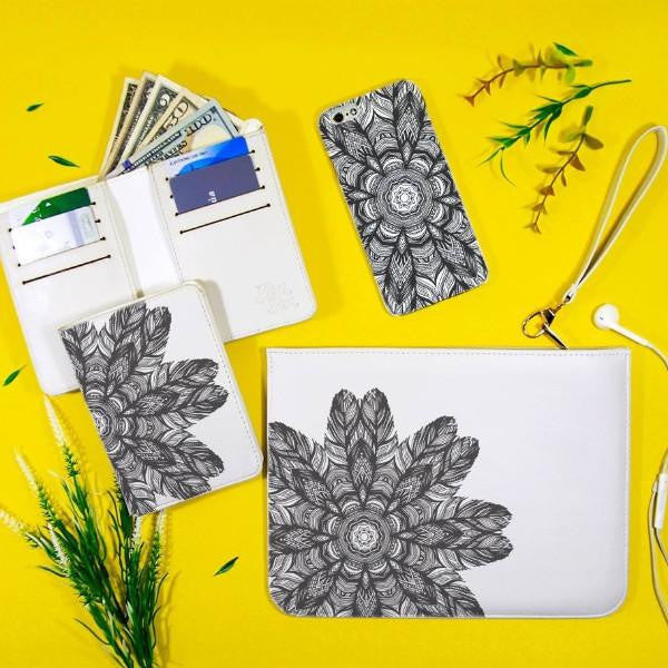 Black and White Floral Mandala Combo Wallet , Clutch and Phone case