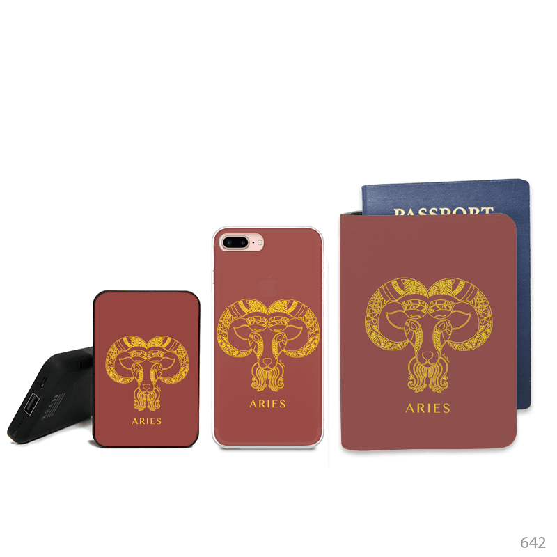 Aries Symbol Combo Passport Holder, Power Bank and Phone case