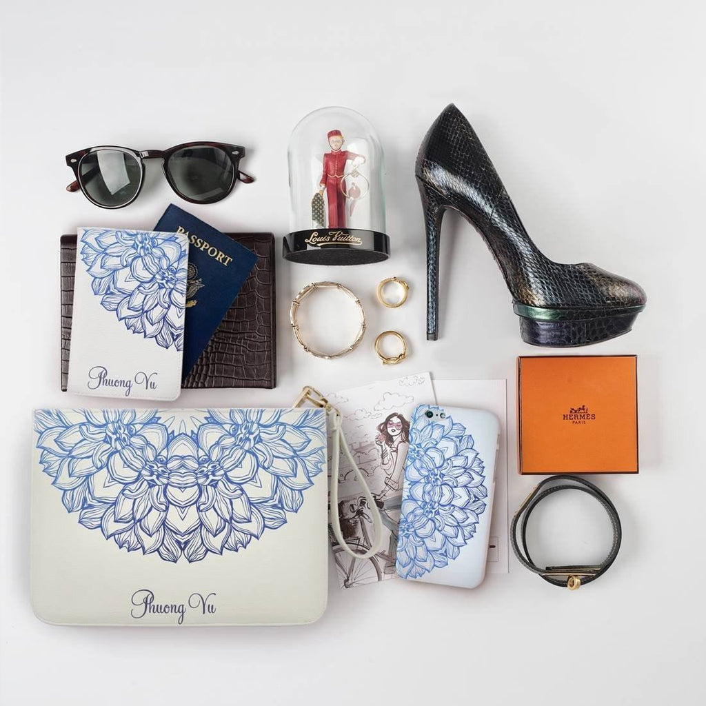 Blue Mandala Combo Passport Holder, Clutch and Phone case