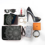Lotus Mandala Combo Personalizable Passport Holder, Clutch and Phone case
