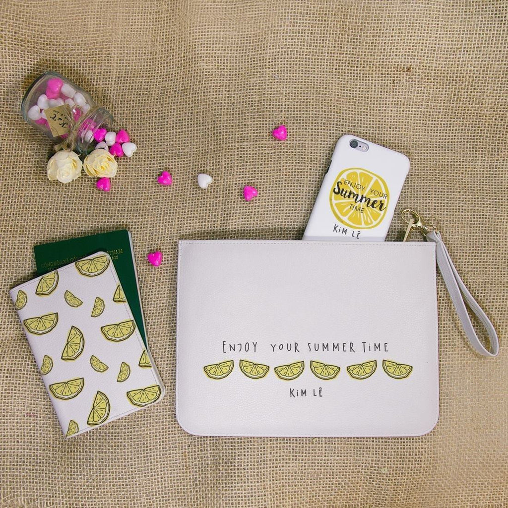 Enjoy your Summer Lemon Combo Passport Holder, Clutch and Phone case
