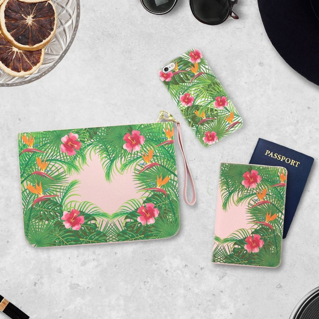 Tropical Forest Combo Personalizable Passport Holder, Clutch and Phone case