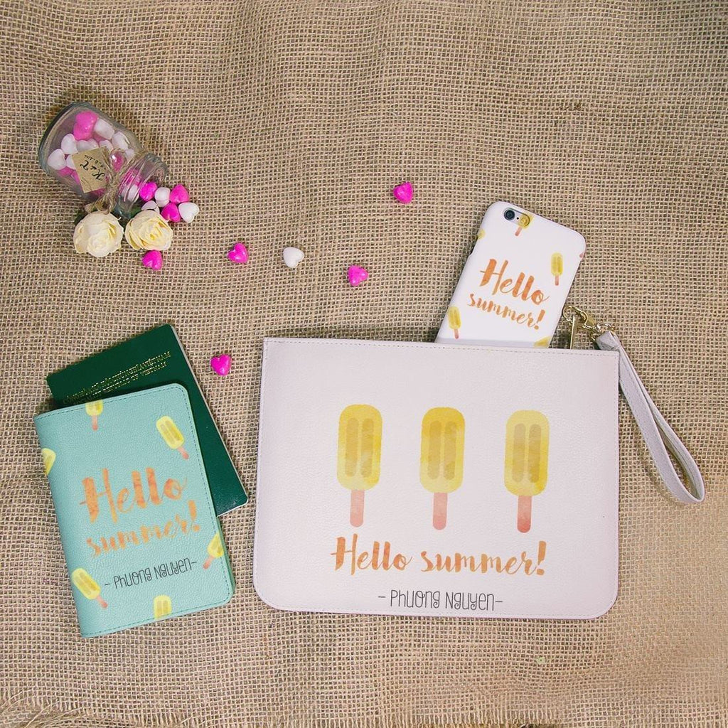 Hello Summer Ice Cream Combo Personalizable Passport Holder, Clutch and Phone case