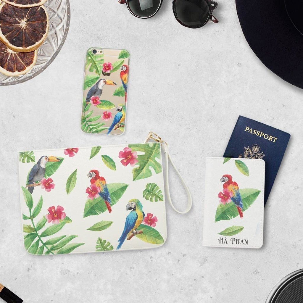 Colorful Parrots Combo Passport Holder, Clutch and Phone case