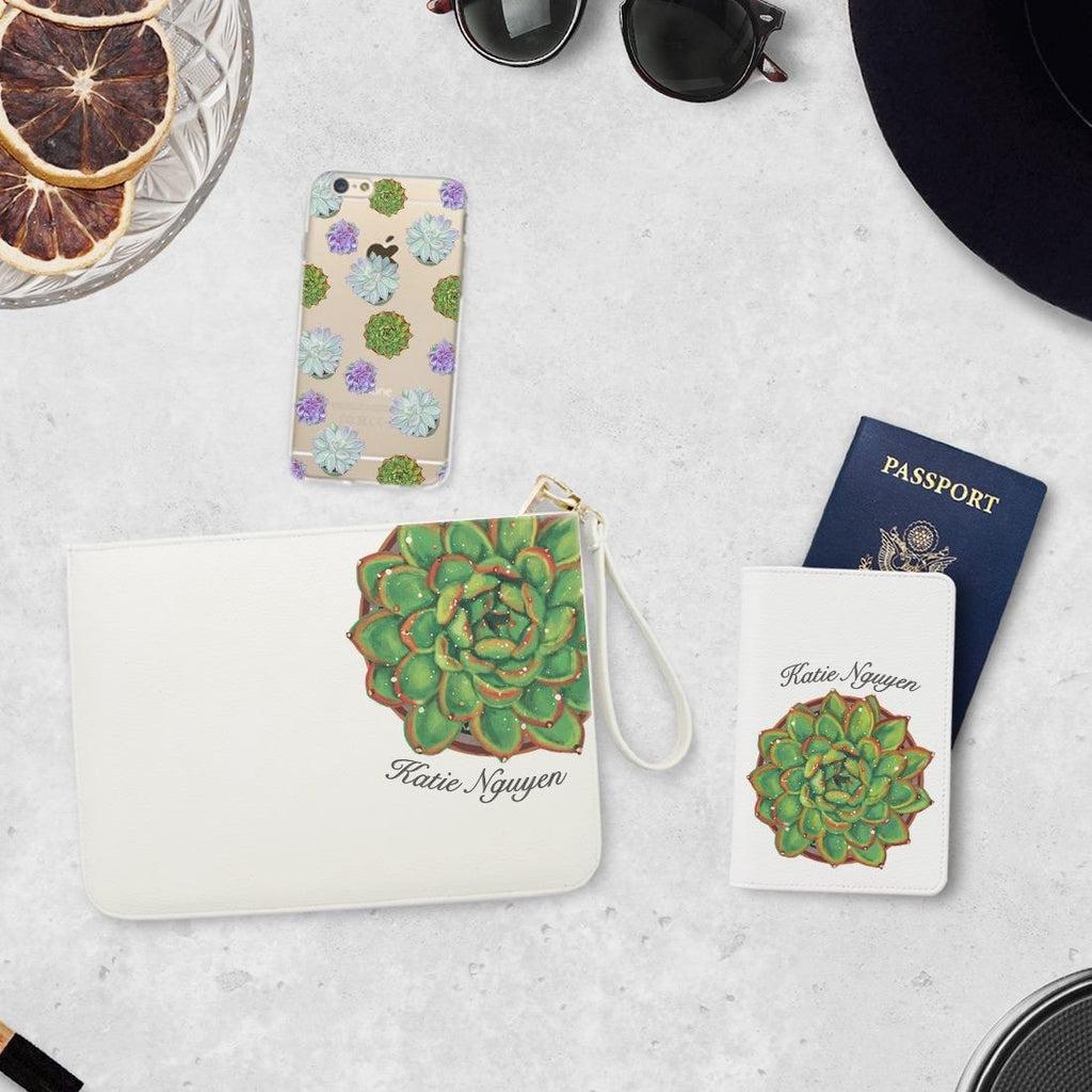 Succulent Combo Passport Holder, Clutch and Phone case