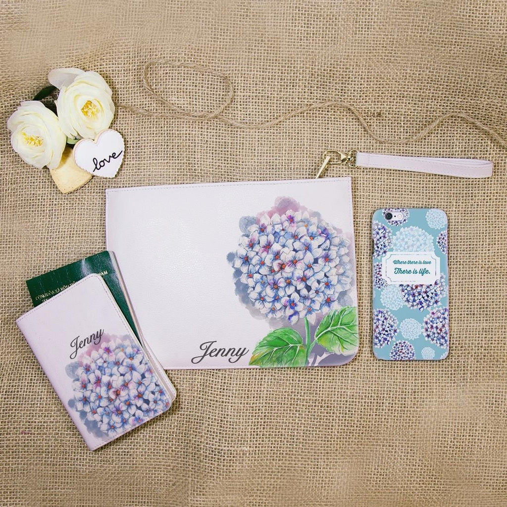 Blue Hortensia Combo Passport Holder, Clutch and Phone case