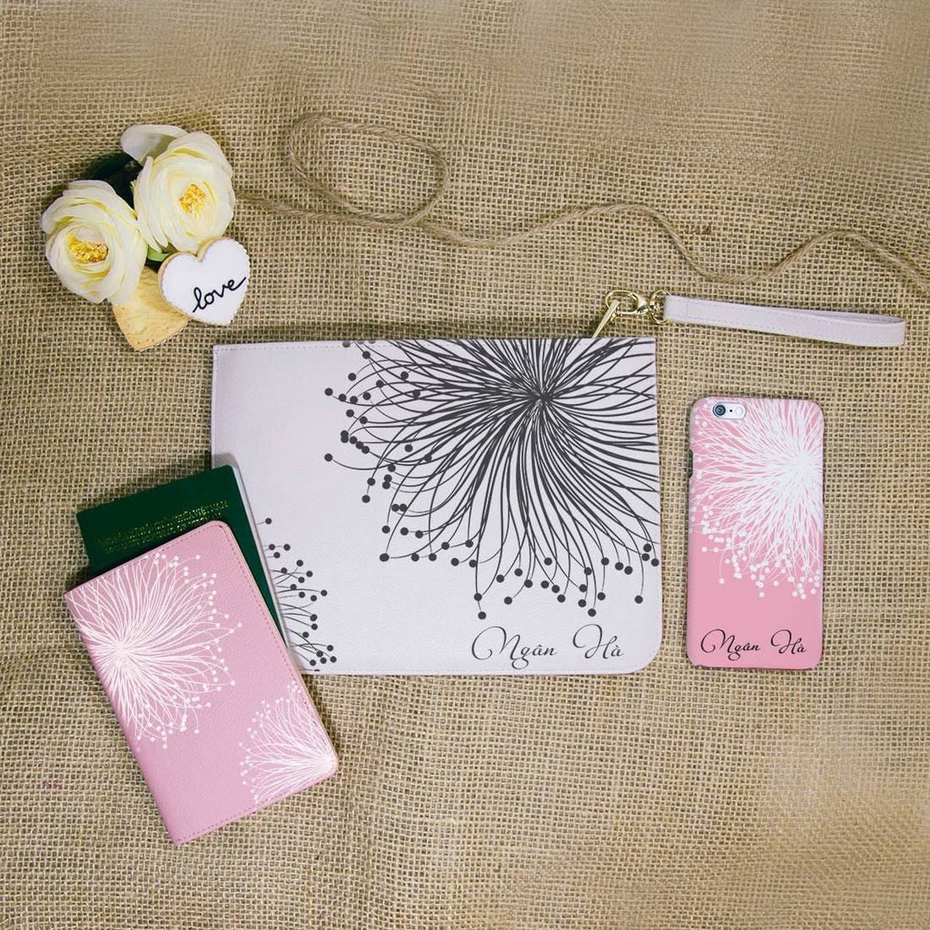 Dandelion Flower Combo Passport Holder, Clutch and Phone case
