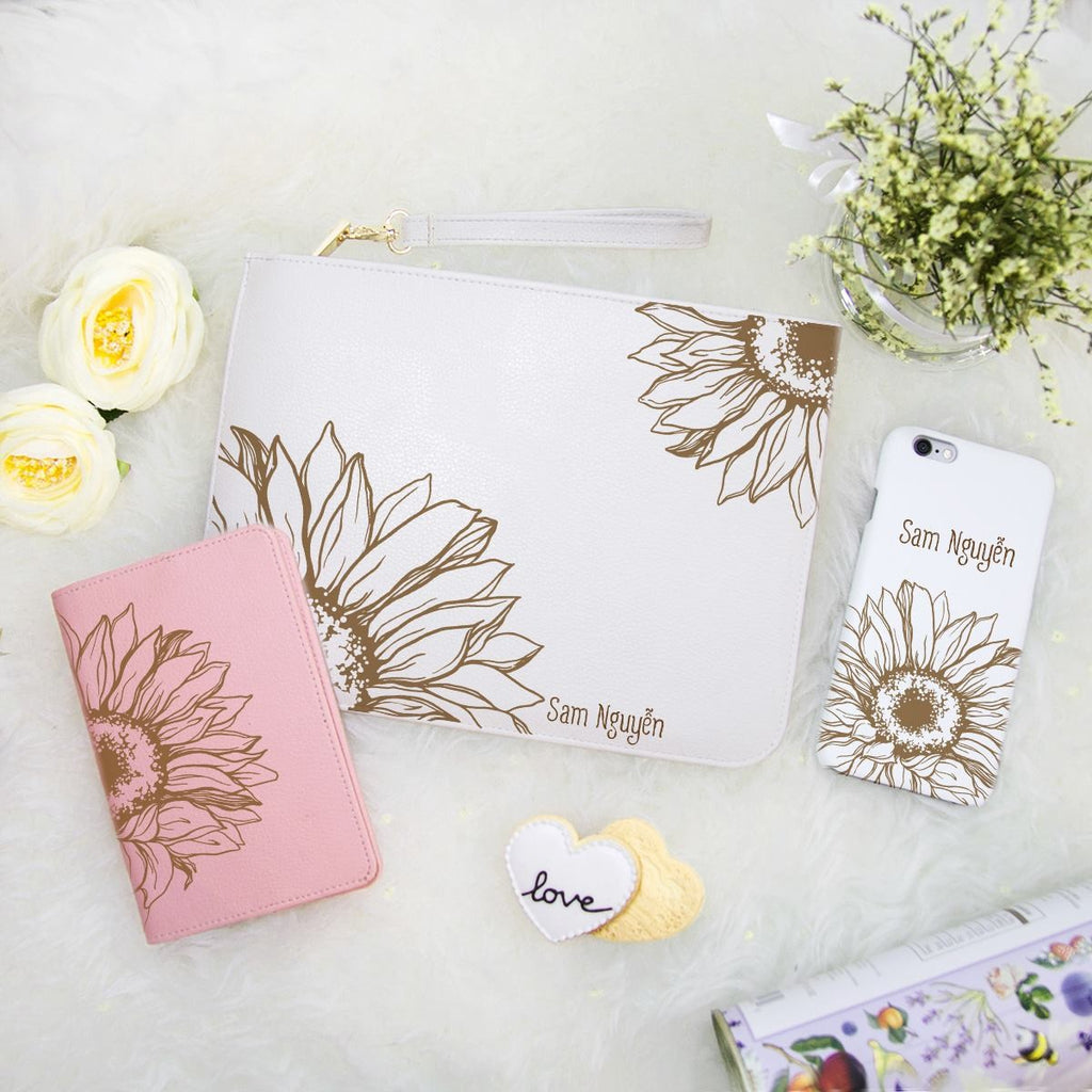 Sunflower Combo Personalizable Passport Holder, Clutch and Phone case