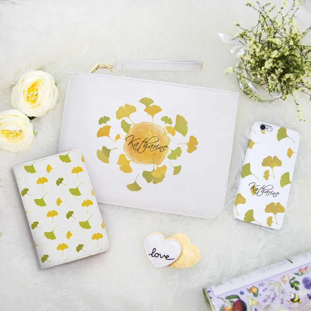 Ginkgo Combo Passport Holder, Clutch and Phone case