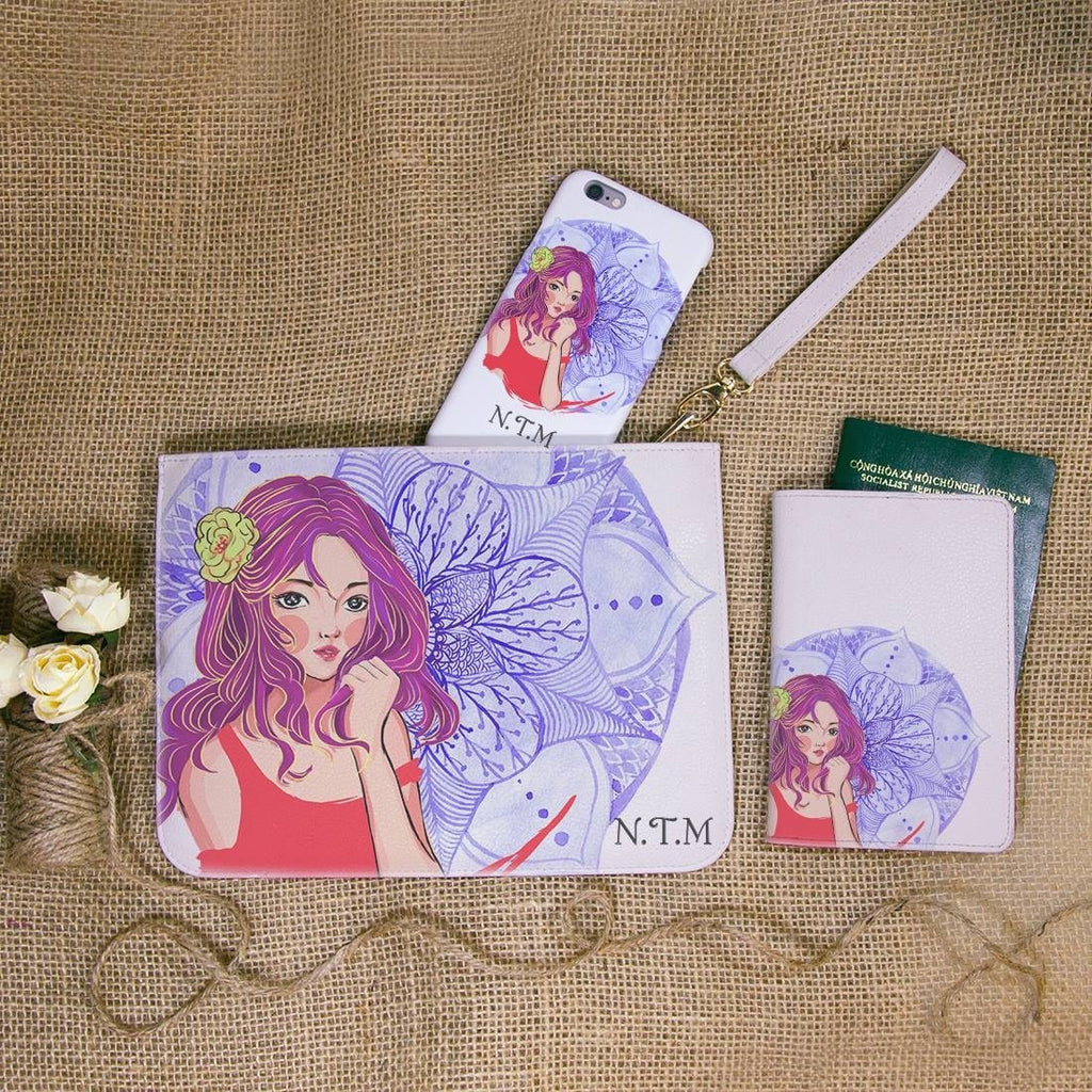 Virgo Lady Combo Personalizable Passport Holder, Clutch and Phone case