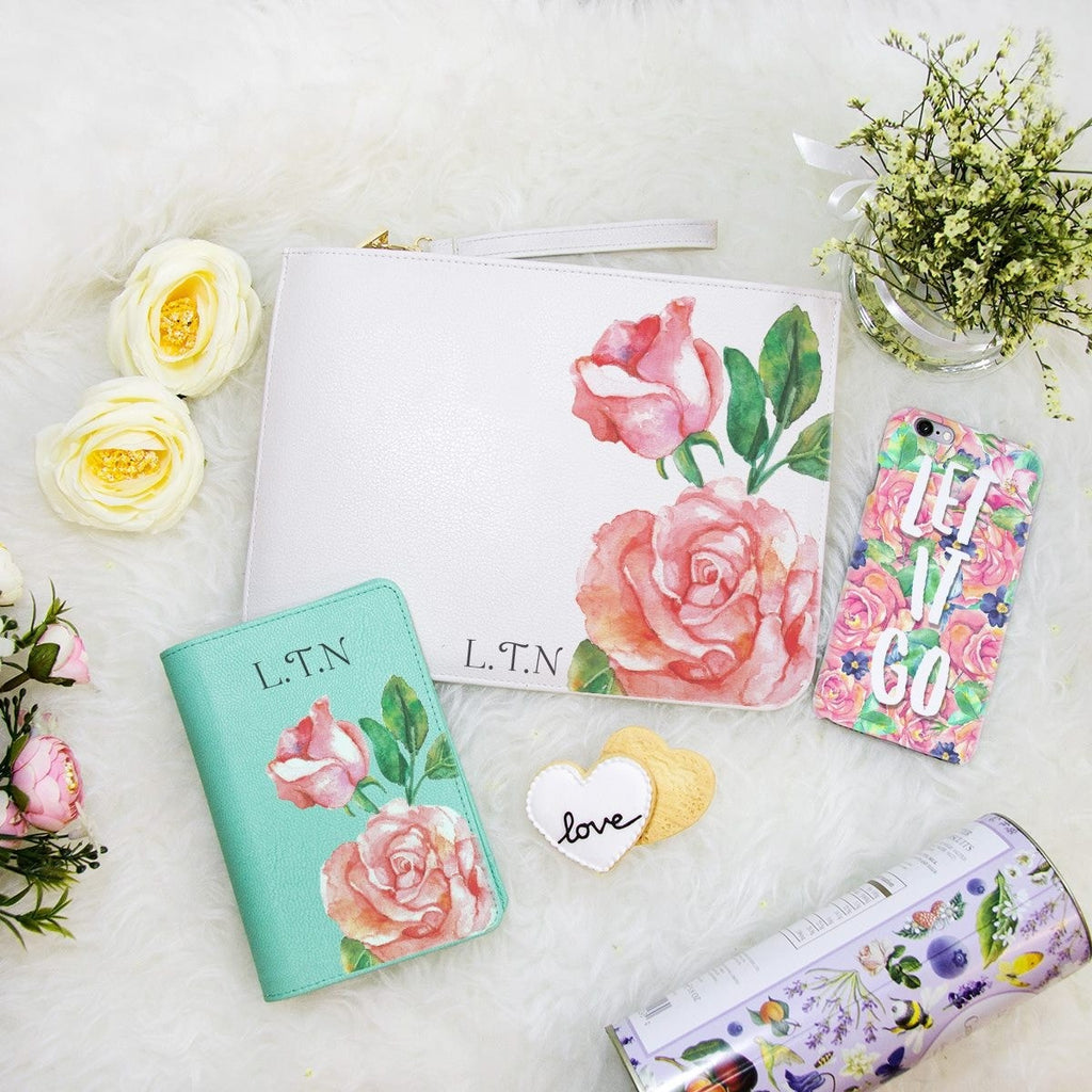Rose Combo Personalizable Passport Holder, Clutch and Phone case