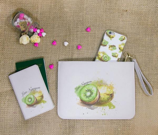 Green Kiwi Combo Passport Holder, Clutch and Phone case