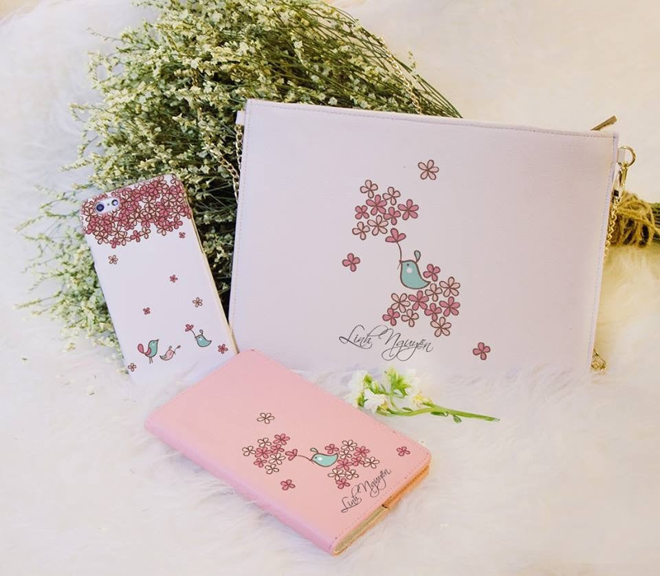 Spring Bird Combo Passport Holder, Clutch and Phone case