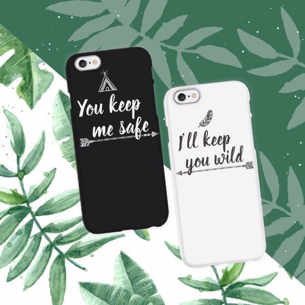 great fit 00110 dc013 You Keep Me Safe Couple Phone Cases