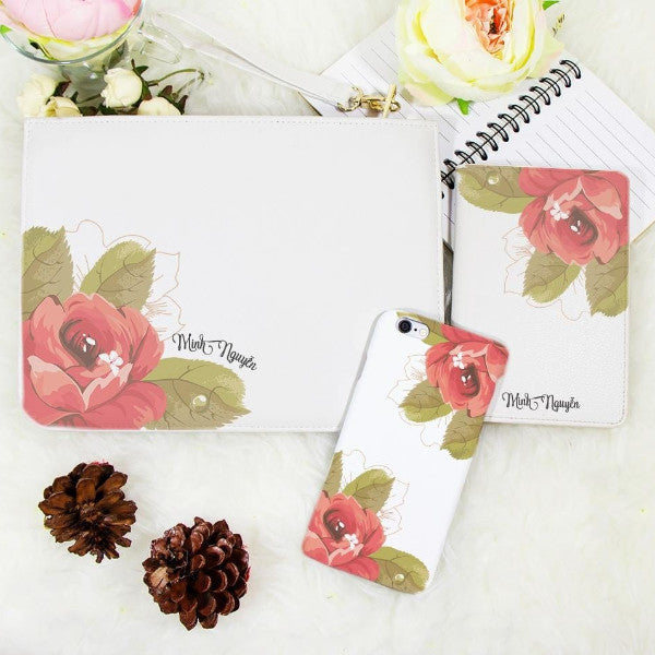 Single Peony Passport Holder, Clutch and Phone case