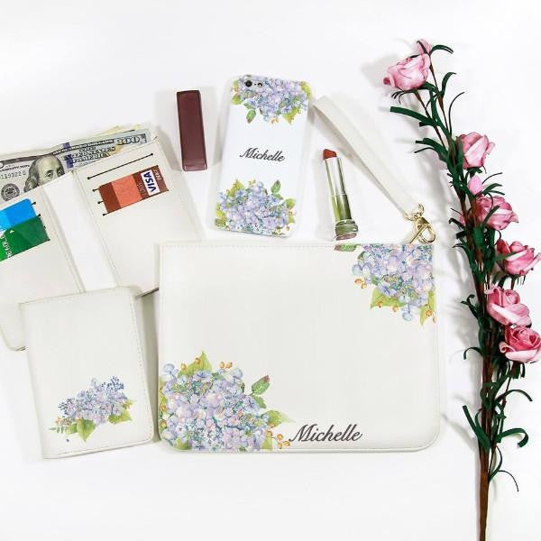 Hortensia Flowers Combo Wallet , Clutch and Phone case