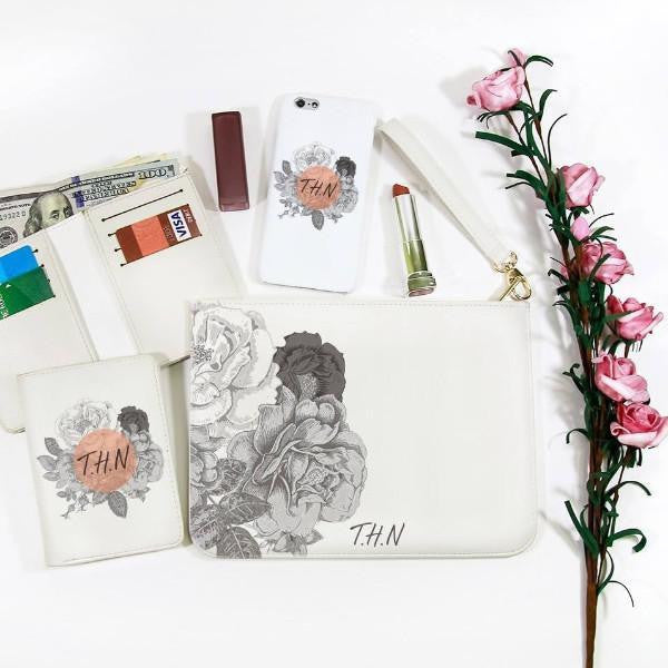 Flowers Sketch Combo Wallet , Clutch and Phone case