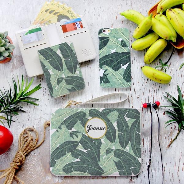 Banana Leaves Combo Wallet , Clutch and Phone case