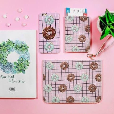 Donut Cartoon Combo Passport Holder, Clutch and Phone case