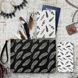 Basic Black & White Boho Feathers Combo Passport Holder, Clutch and Phone case