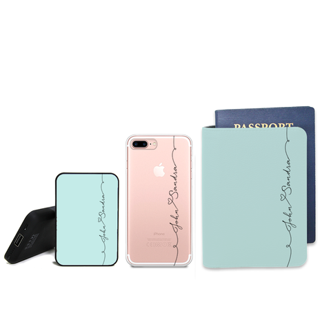 Through Leaf Veins Combo Personalizable Passport Holder, Power Bank and Phone case