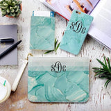 Light Green Marble Combo Passport Holder, Clutch and Phone case