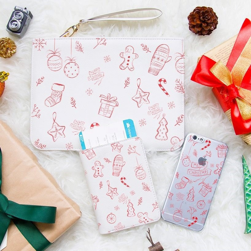 Christmas Gift Set Passport Holder, Clutch and Phone case