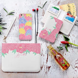 White Peony Combo Wallet , Clutch and Phone case