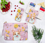 Floral Corgi Combo Wallet , Clutch and Phone case