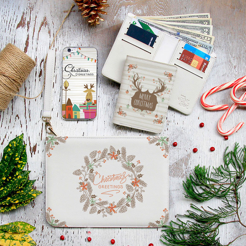 Christmas Greetings Combo Wallet , Clutch and Phone case