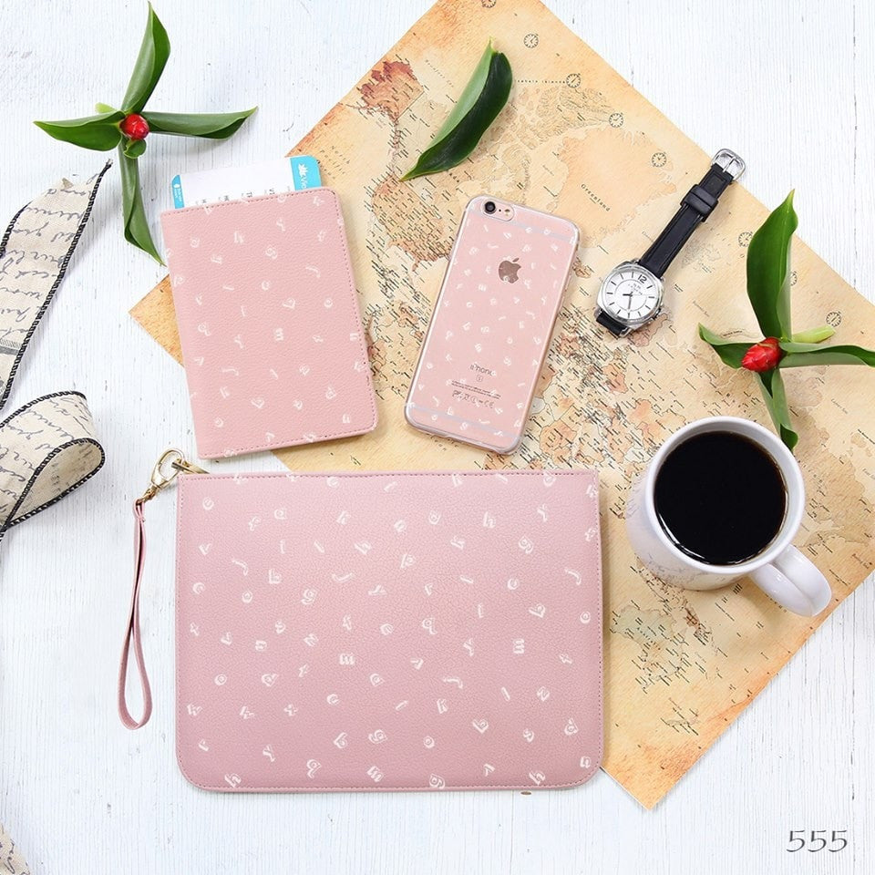 Pink Alphabet Combo Passport Holder, Clutch and Phone case