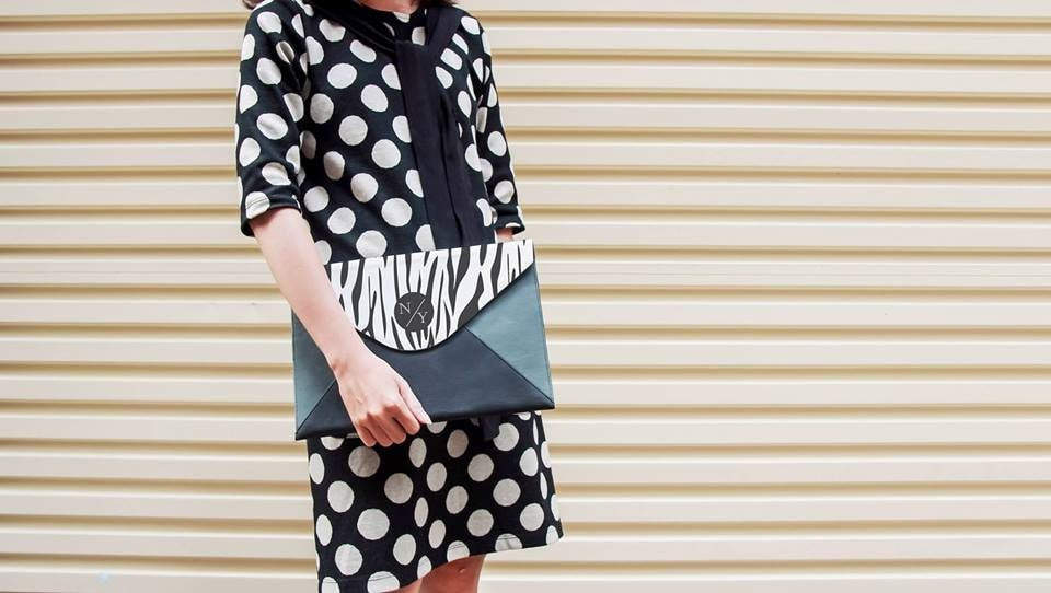 Black and White Zebra Pattern Envelope Clutch