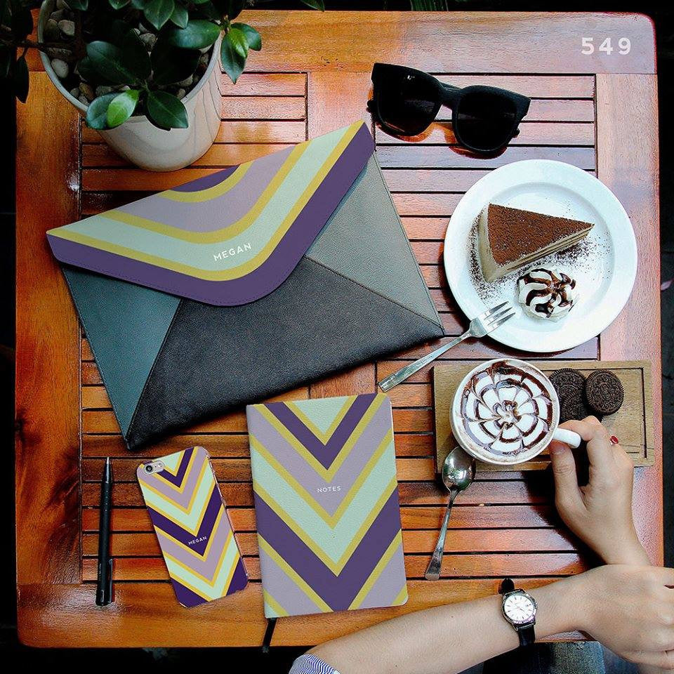 Purple Color Mix Matching Set Notebook, Envelope Clutch and Phonecase