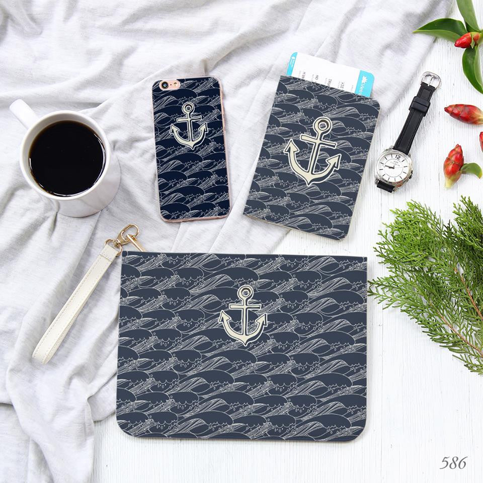 Waves Combo Passport Holder, Clutch and Phone case