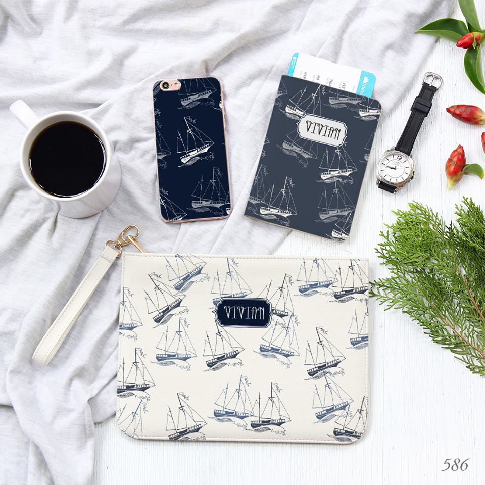 Sailboat Combo Personalizable Passport Holder, Clutch and Phone case